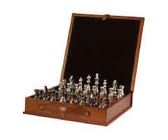 Indigo Leather Chess Set