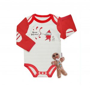 Baby Christmas Bodysuit With Rattle Toy
